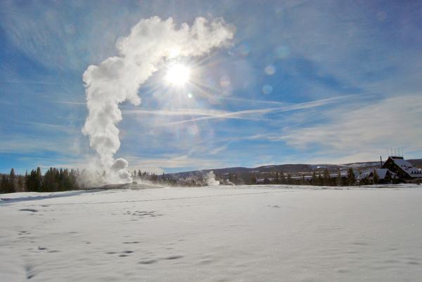 Geyser rain is one of the many weird and wonderful sights seen in Yellowstone in the winter.